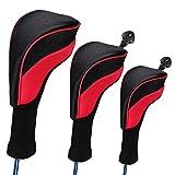 Juego de 3 Funda de Palo de Golf, protectoras para palos de golf,cuello largo fundas de cabeza de palo de golf híbridos con intercambiable (rojo)