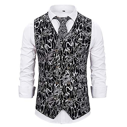 Story of life mannen casual vest Art en wijze Rose Hot Stamping vest dubbele rijen met V-hals Gilet Disco Tanz-Top kostuum Party Clubwear