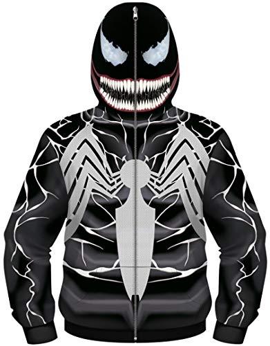 Silver Basic Felpa con Zip Super Hero Cosplay Bambino Custume in Carnevale e Feste,Venom-1,S…