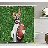 Yeuss Collection de décor Sports, Chien Football Tenant Un Ballon Rugby et Rire drôle d'impression d'image Bande dessinée Rire,Rideau en Tissu Polyester,Rideau Douche
