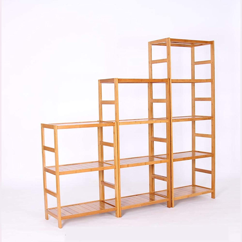 PeaceipUS DIY Assembled Bamboo Shelf Floor Multi-Layer Adjustable Height Flat Storage Rack Bathroom Kitchen Storage Tea Rack (Size   42  30  80cm)