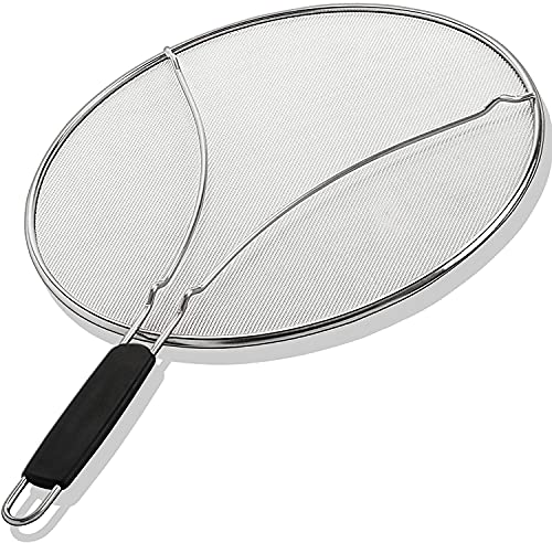 Grease Splatter Screen for Frying Pan 13' - Stops 99% of Hot Oil Splash - Protects Skin from Burns - Splatter Guard for Cooking - Iron Skillet Lid Keeps Kitchen Clean - Stainless Steel