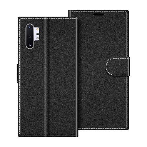 COODIO Handyhülle für Samsung Galaxy Note 10+ Handy Hülle, Samsung Galaxy Note 10 Plus Hülle Leder Handytasche für Samsung Galaxy Note 10 Plus Klapphülle Tasche, Schwarz
