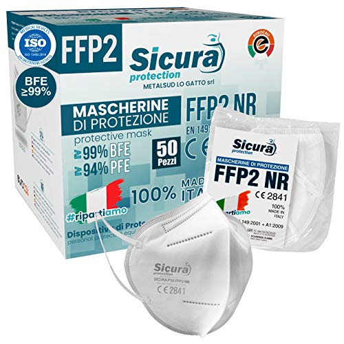50 Mascherine FFP2 Certificate CE Made in Italy SICURA BFE...