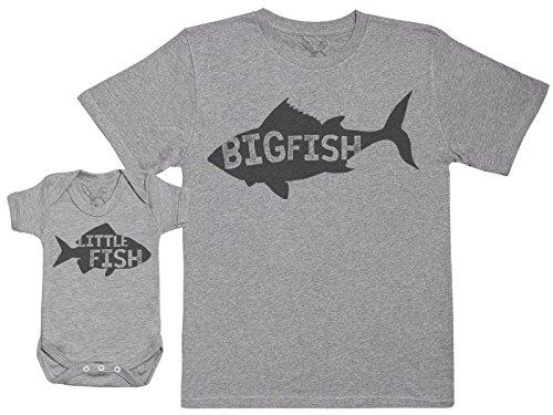 Little Fish - Passende Vater Baby Geschenkset - Herren T-Shirt & Baby Strampler/Baby Body - Grau - L & 0-3 Monate