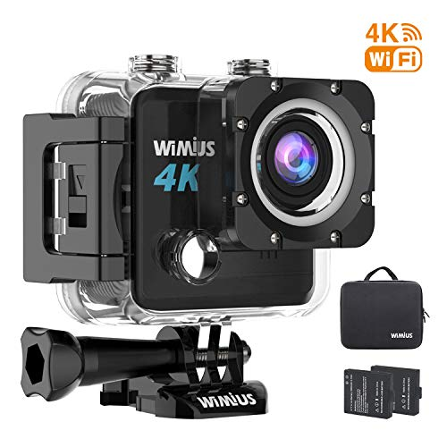 Sports Action Camera Waterproof DV 4K 20MP HD WiFi Underwater Camcorder EIS Wide Angle Lens with 2 Rechargeable Batteries and Mounting Accessories Kit