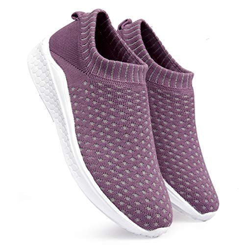 meriggiare® Women Fashion Breathable Sneakers Comfortable Sock Slip-ons Lightweight Sport Gym Fitness Workout Jogging Walking Memory Foam Running Sports Shoes- Lavander