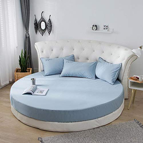 Falda de Cama de algodón, Cama Redonda, sábana, Funda Protectora de colchón, sábana de algodón Redonda, 2,0 Metros, 2,2 Metros, Ropa de Cama de jardín Cielo Azul 2,2 m de diámetro