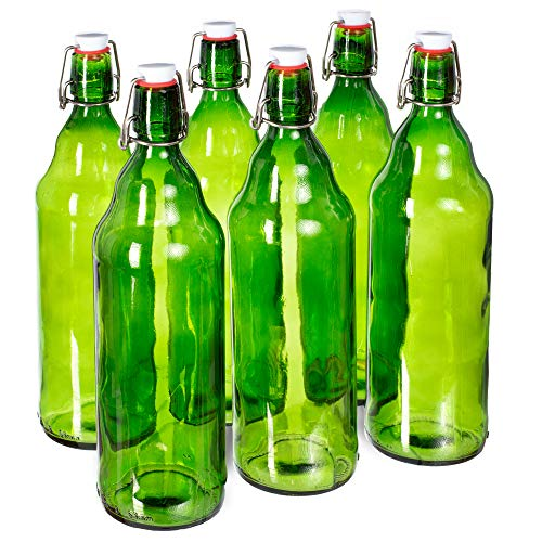 33 oz. Green Glass Grolsch Beer Bottle, Quart Size - Airtight Seal with Swing Top/Flip Top - Supplies for Home Brewing & Fermenting of Alcohol, Kombucha Tea, Wine, Homemade Soda (6-Pack)