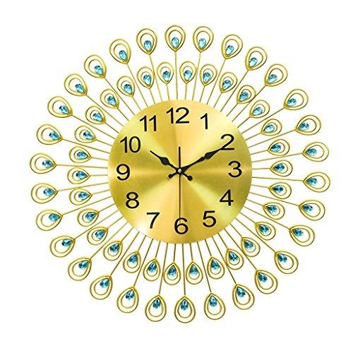 Nouveau Peacock Diamant Fer Art Horloge Murale Salon Montre Maison Décor De Mariage ( taille : 60 cm )