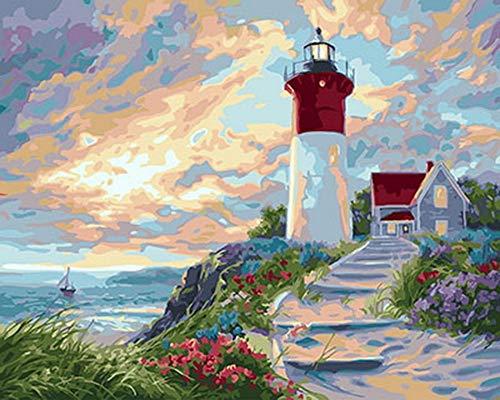 Vanzelu Frameless Foto Olieverfschilderij Door Getallen Muurdecoratie Diy Schilderen Op Doek Voor Huisdecoratie Aansteker Huis 40x50cm (16 * 20