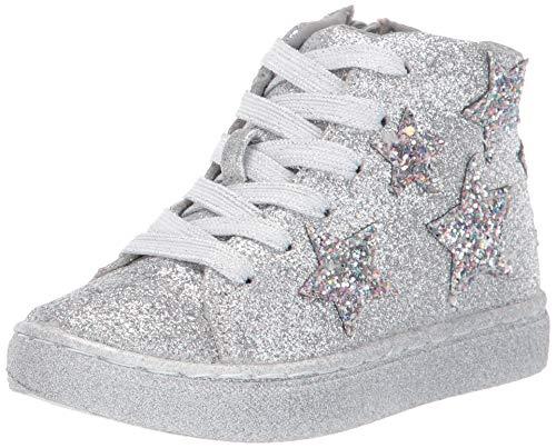 Steve Madden Girls' TAUSTINN Sneaker, Silver, 12 M US Toddler