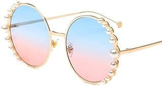 FRGTHYJ - FRGTHYJ Gafas de Sol Gafas de Sol Mujer Gafas de Sol de Perla Gafas de Sol Redondas Vintage Sombras para Mujer Gafas de Metal Azul Dorado UV400 de Metal Dorado para Mujer
