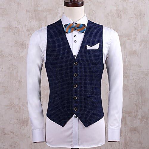 Hmjnklm Les Jeunes Hommes - Hommes, Self-Cultivation Costume Veste, Gilet,Petites Treillis Bleu,m