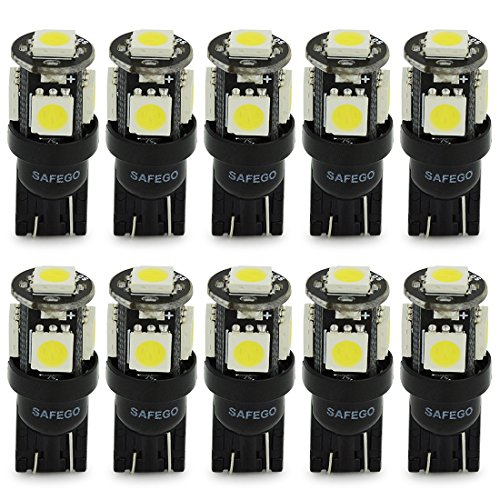 10x T10 W5W LED Bombillas Exteriores 5 SMD 5050 Luz Coche 194 168 Wedge Lampara Trasera Lámpara Blanco Xenon Luz de Interior para Coches Luces de la Matrícula Luces Laterales 12V