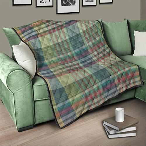 AXGM Colcha multicolor a cuadros escoceses, manta 3D digital, manta para dormir, blanco, 200 x 230 cm