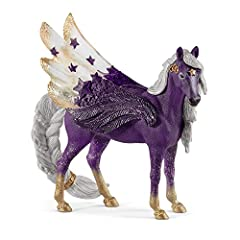 DESIGNED FOR PLAY. The majestic Pegasus toy figurine is decorated with stars and glitter as she shines flying through the night sky. HEALTHY IMAGINATIVE PLAY. The Star Pegasus Mare from Schleich is carefully designed to inspire safe and creative pret...