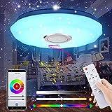 Lámpara de Techo Bluetooth, Luz de Techo con Música, Control Remoto o de APP, LED Regulable, Lámpara de Música con Cambio de Color, 36W 180-265V Pantalla Starlight con diseño de corte de diamante…