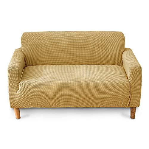 ENCOFT Sofaüberwürfe 3 sitzer Polyester Sofabezug Gelb Verdicken Stretch Couchbezug Elastischer Antirutsch Stretchhusse Weich Stoff Sofa-Überwürfe(3 Sitzer,Gelb)