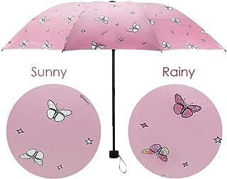 Cute Cat Umbrella,Mini Travel Automatic Windproof Umbrella ,2019 New Small Lightweight Folding Rain Umbrellas for Women Men Kids(Red)