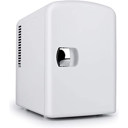 Living Enrichment Mini Portable Compact Personal Fridge Chilling and Warming, AC/DC Power, 4L 6 cans Capacity Includes Plugs for Home Outlet & 12V Car Charger, White