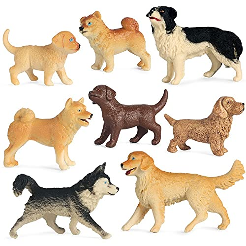 Zhushj'shop 8 Piezas/Conjunto De Pet Dog Modelo Modelo Modable Doll Puppy Shiba Inu Husky Dachshund Doll Lindo Conjunto de Juguetes ZHUSJJS (Color : Dog)