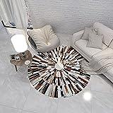 YYQIANG Tapis Rond de Motif de Vachette Moderne Simple,Table Basse Chambre à Coucher Circulaire de Chevet,Tapis antidérapant résistant aux Taches (Color : Metallic, Size : 120CM)