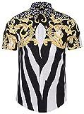 PIZOFF Men's Luxury Short Sleeve Floral Print Button Down Dress Shirt Y1782-04-XL