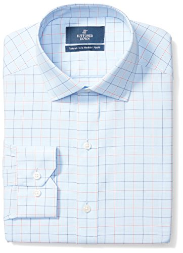 Amazon Brand - Buttoned Down Men's Tailored Fit Spread-Collar Pattern Non-Iron Dress Shirt, Blue/Orange Tattersall Check, 15.5' Neck 34' Sleeve