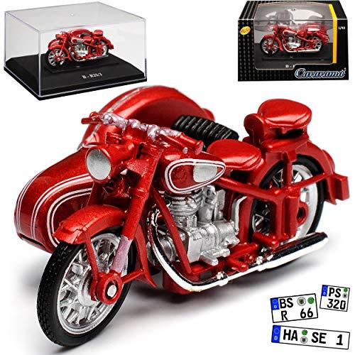 Cararama B-M-W R25 R25/3 mit Seitenwagen Rot Braun 1949-1956 mit Sockel und Vitrine 1/43 Modell Motorrad