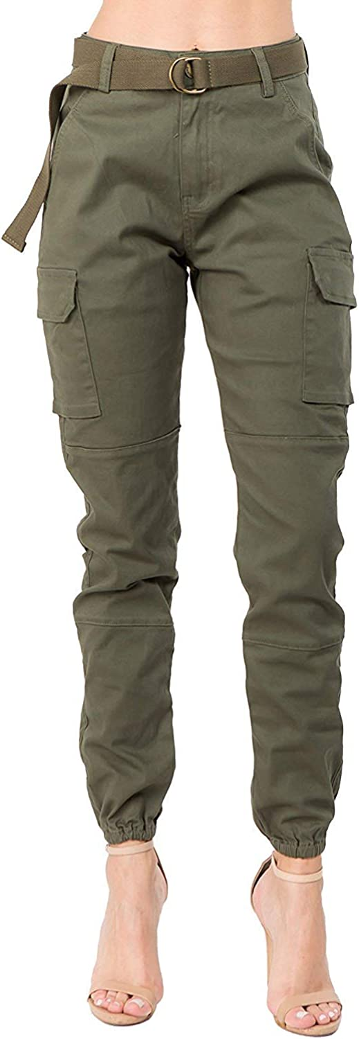 doublefive Women's Casual High Rise Waist Skinny Slim Fit Belted Cargo Joggers Pants with Pockets
