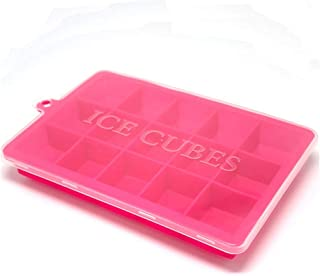 With Lid Creative Large Silicone Ice Cube,Tray Square Shape Ice Cube Mold Fruit Ice Cream Maker Bar Kitchen Accessories,Red With Lid