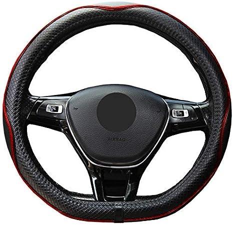 Istn Mikrofaser Leder Lenkradbezüge Atmungsaktiv Rutschfest Black Red D Form Auto