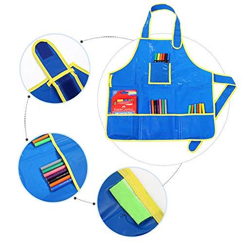 Gaocheng kinderschorten zonder mouw schilderen schort taille doek Pinafore blauw waterdicht schort voor schilderen, koken, eten en andere activiteiten
