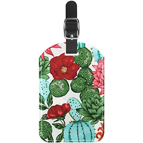 Etiquetas de Equipaje para Pintura de Cactus y Flores de Piel para Maleta de Viaje, 1 Paquete