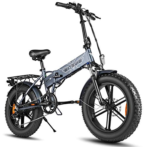 Belle House Folding Electric Bike,Fat Tire Electric Bicycle Mountain Beach Snow Bike for Adults,Scooter 7 Speed Gear E-Bike with Removable 48V12.5A Lithium Battery (Grey)