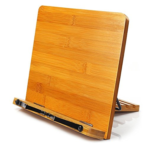 MEETYOO Bambù libro supporto lettura resto del leggio pieghevole tablet Textbooks supporti Musicbook PC iPad Textbook multiuso portatile da scrivania leggio con regolabile posteriore