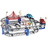 ARONTIME Carrera de coches pistas mágicas, pista de carreras de coches flexible y 2 luces de juego de coches, carril eléctrico curva de carreras de lino de dos capas