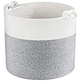 MINTWOOD Design 15' x 14.2' Woven Cotton Rope Storage Basket, Stuffed Toy Basket & Bin, Baby Laundry Basket Hamper, Nursery Basket, Dog Toy Basket, Blanket Basket, Baby Shower Basket - Light Gray