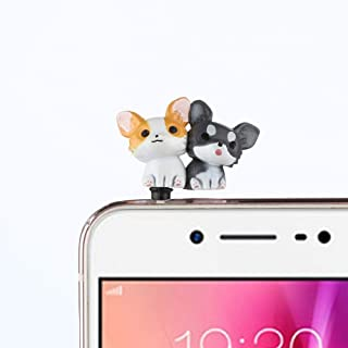 Gotian 3.5mm Cute Puppy Anti Dust Earphone Jack Plug Stopper Ear Cap for Cellphone (F)