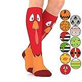 GO2 HOLIDAY Compression Socks for Women Men Nurses Runners 15-20 mmHG (medium)-Medical Stocking Maternity Travel-Best Performance Recovery Circulation Stamina (TurkeyF,Large)