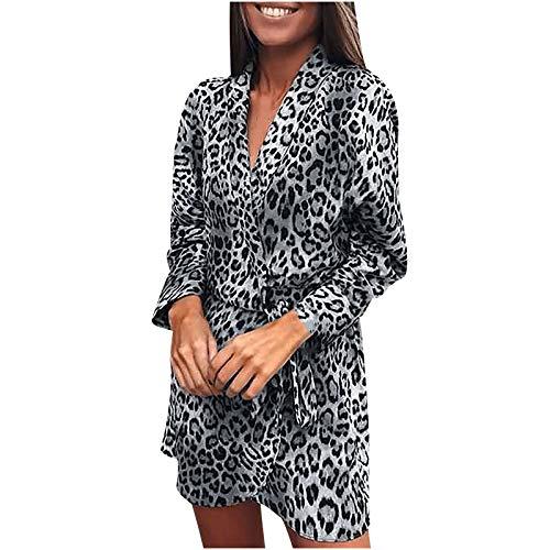 Cockjun Damen Kleider für Damen V-Ausschnitt Leopard Verband Unregelmäßig Tunika T-Shirtkleider Freizeitkleider Schaukelkleid Knielanges Halten Kleid Mode Gemütlich Wickelkleid Minikleid