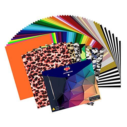 HTV Heat Transfer Vinyl Bundle - 65 Pack Iron on Vinyl Bundle 12' x 10' 41 Assorted Colors HTV Vinyl Bundle for Cricut, Silhouette Cameo or Heat Press Machine by JANDJPACKAGING