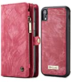 iPhone XR Wallet Case, iPhone Xr 6.1' Magnetic Detachable Slim Cover, XRPow Vegan Leather Folio Wallet Removable Back Cover Card Slots Holder Shock Protection Zipper Wallet Case RED