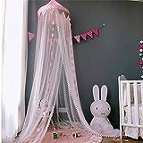 OldPAPA Moskitonetz, Betthimmel Deko Baldachin Moskitonetz Kinder Prinzessin Spielzelte Dekoration für Kinderzimmer, mit Sternen Dekoration 60 * 300cm (Rosa) - 2