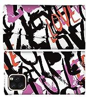 AQUOS R5G 対応 スマホケース 全機種対応 手帳型 レターケース レター型 ハート ラブ 唇 リップ ボーダー 人気 コスメ 韓国 ハート柄 LOVE スマートフォン ケース ミラー付き