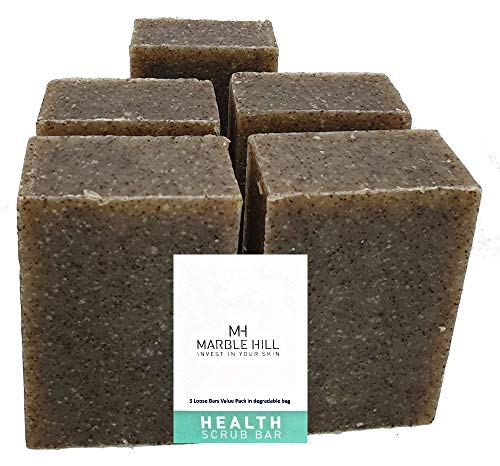 5 x Multi-Pack of Exfoliating Seaweed Soap Shampoo and Shave Bar 100 g. acné, anti Dandruff, Greasy Hair, seborrhoeic dermatitis, face spots. Scalp acné, Back acné. Blackheads, Whiteheads, Helps Shaving rash. by Marble Hill