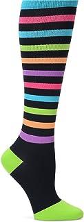 Nurse Mates Women`s 12-14 Mmhg Wide Calf Compression Trouser Sock Bright Stripe