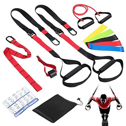 Correas de entrenamiento de resistencia para entrenamiento de cuerpo completo, kit de correas de peso corporal con anclaje de puerta, banda de ejercicio de resistencia única, 5 bandas de resistencia
