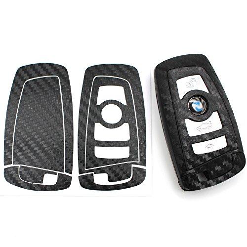 Schlüssel Skin Folie BC für 3 Tasten Auto Schlüssel Folien Cover - Finest-Folia (Carbon Schwarz)